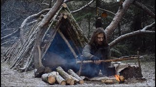 Bushcraft trip - making carving bench - permanent a-frame camp series [part 3 - long version]