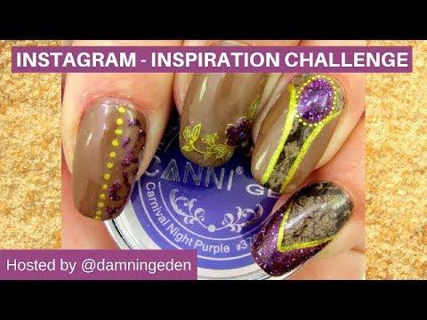 Inspiration Challenge Nail Design - Purple Glitz