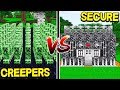 1,000 CREEPERS VS MOST SECURE BASE CHALLENGE! - Minecraft