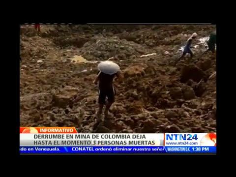 Tres muertos y 30 personas atrapadas tras derrumbe de tierra al interior de una mina en Colombia