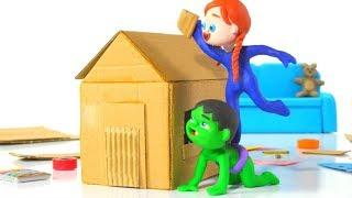 KIDS MAKING A PLAYHOUSE AT HOME ❤ SUPERHERO PLAY DOH CARTOONS FOR KIDS