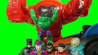 HULK smashes GOTHAM IRON MAN saves the day with BATMAN imginext toys
