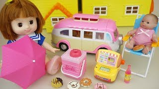 Baby Doli and picnic car food toys baby doll play