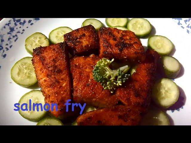 salmon  fry (fillet) / quick,simple,easy - மீன் வறுவல்(சால்மன்  )