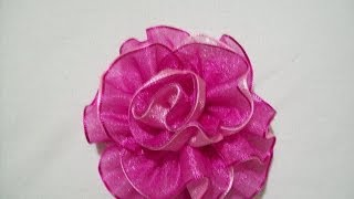 80.- Rosa doble en cintas, Iztac Madrigal