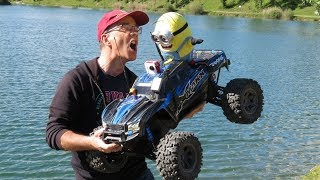 VIDEO GAG PRANKS - FPV - MINION ON RC CAR TRAXXAS X-MAXX