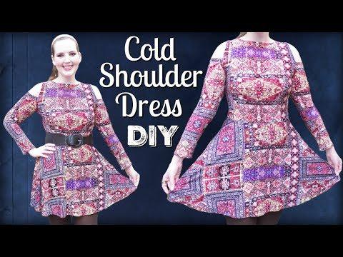 DIY Cold Shoulder Dress | How to Sew a Stretch Fabric Skater Dress