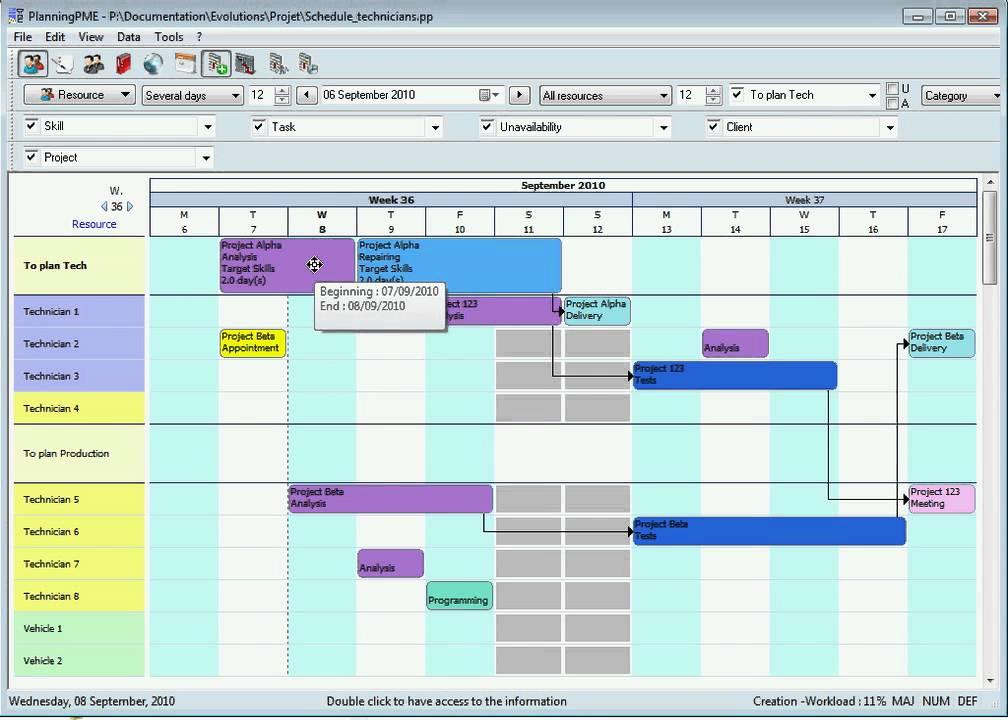 production planning - gantt chart  english