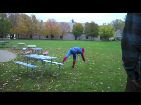 a guy gets bit by a spider and turns into spiderman! ... Not! Parkour in a spider man costume, enjoy! :) @Baddieking fb: http://www.facebook.com/blake.sugar#...
