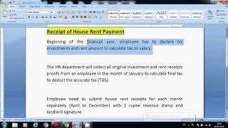 House Rent Payment Receipt Proof Submission| House rent payment receipt format