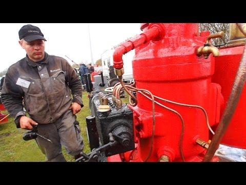 Starting crude oil 2-stroke engine from 1928. Only one left in the World/ Djursland, Denmark