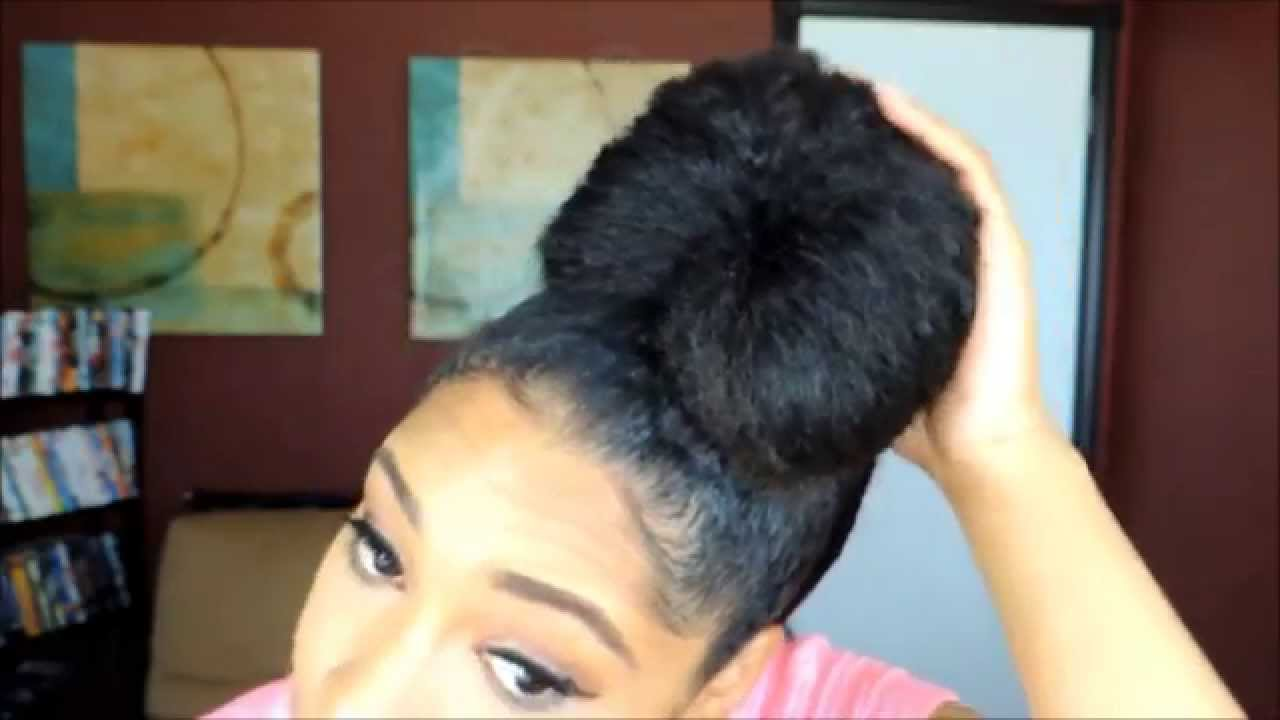 60 High Bun Top Knot Tutorial On Natural Hair Youtube