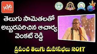 Acharya Kasireddy Venkat Reddy Speech About Telugu Proverbs at World Telugu Conference 2017 |YOYO TV