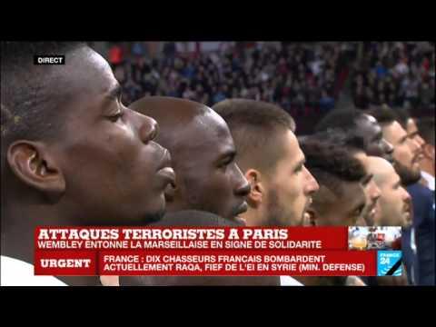 """""""La Marseillaise"""" entonnée par l'ensemble du stade de Wembley avant France - Angleterre"""