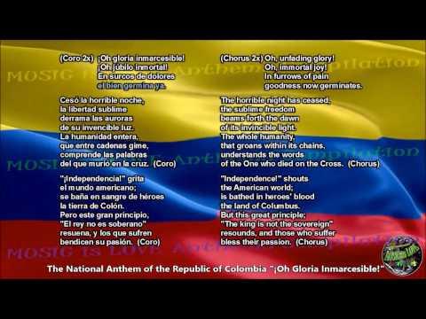Colombia National Anthem with music, vocal and lyrics Spanish w/English Translation