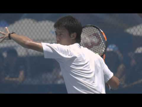Kei Nishikori practice session - Brisbane International 2015