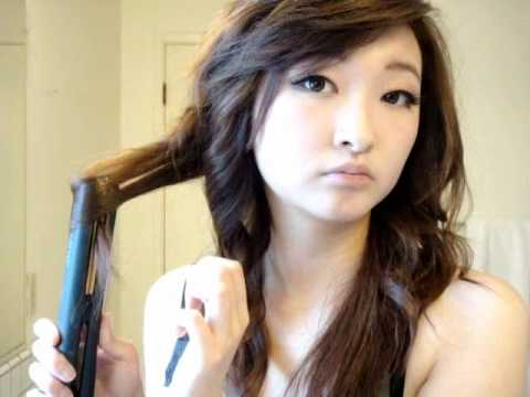 AsianUlzzang Curls With Flat Iron Tutorial YouTube