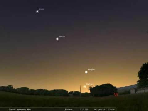 23.02.2012 Wieczorne spotkanie Księżyca i Merkurego
