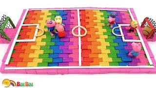 How To Make Kinetic Sand Football Pitch For Peppa Pig Toys