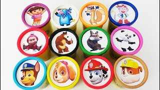 Learn Colors Play Doh Cups Surprise Toys Masha and the Bear Paw Patrol Cars 3 Mcqueen Toy For Kids