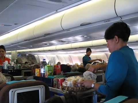 Inflight meal service. Garuda Indonesia flight GA 89