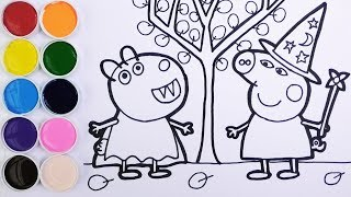 Halloween Peppa Pig de Bruja y Suzy Sheep de Dracula Dibujos Para Niños Learn Colors FunKeep