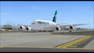 WESTJET AIRLINE AIRBUS A380 800 TAKE OFF FROM SEATTLE TACOMA AIRPORT FS9 HD