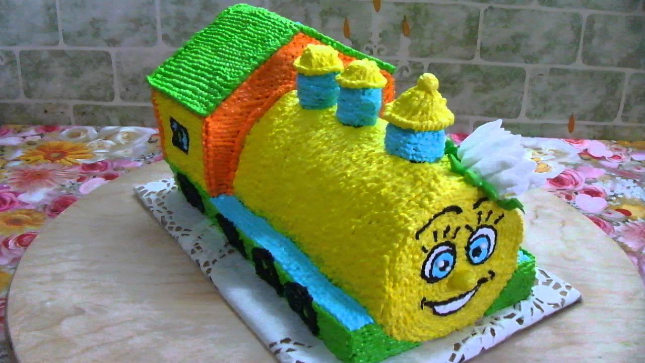 Торт паровозик из крема