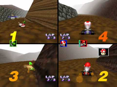 Mario Kart 64 Netplay: Choco Mountain 4 player race