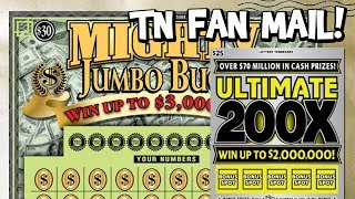 NICE WIN! $30 Mighty Jumbo Bucks + $25 Ultimate 200X! ✦ Tennessee Lottery Scratch Off Tickets!