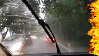 Driving into a heavy rain storm #4