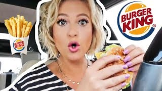 BURGER KING CAR EATING SHOW | TRYING WHOPPER JR FIRST TIME | SLOPPY EATING