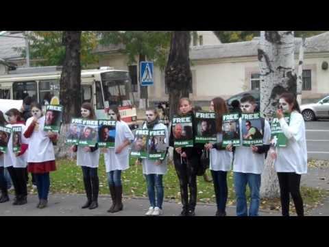 Tinerii au ieşit în stradă în susţinerea activiştilor Greenpeace