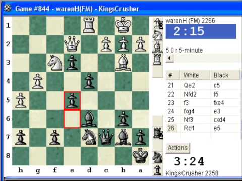 Chess World.net: Blitz #82 vs FM warenH (2266) - French Defence Burn Variation (C11)