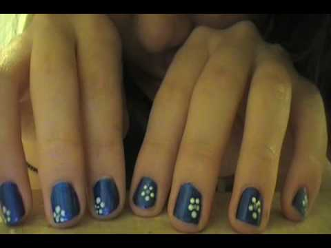 ♥ Blue nails with flower ♥