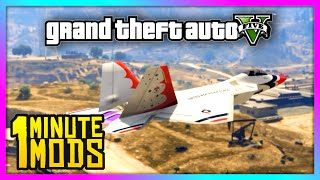 GTA 5 - 1 Minute Mods | F22 Raptor Fighter Jet & Bomber! (GTA V - #14)