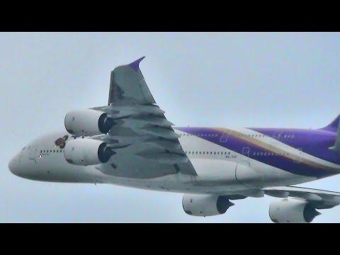 Hong Kong Airport Plane Spotting. Takeoffs and Landings on Both Runways