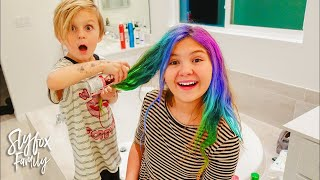 BROTHER DOES SISTERS HAIR!! Best Hairstyle Of 2017 | Slyfox Family