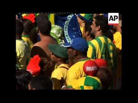 Thousands watch Brazil v Portugal match at Copacabana beach