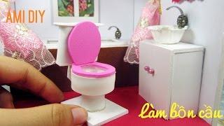 DIY Miniature Dollhouse Bathroom #3 | Cách làm bồn cầu cho búp bê | Ami DIY