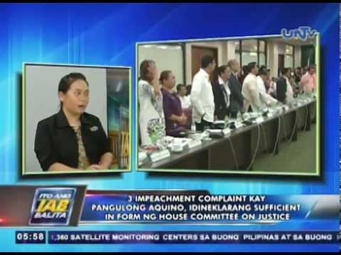 3 impeachment complaint  vs PNoy, idineklarang sufficient in form