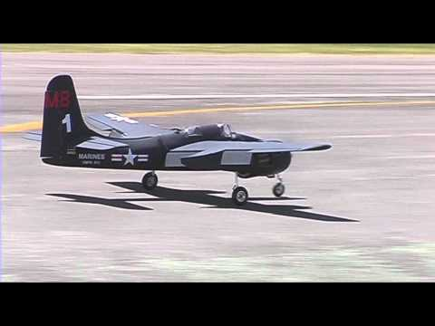 A large and very fast twin engined RC plane flown low and hard