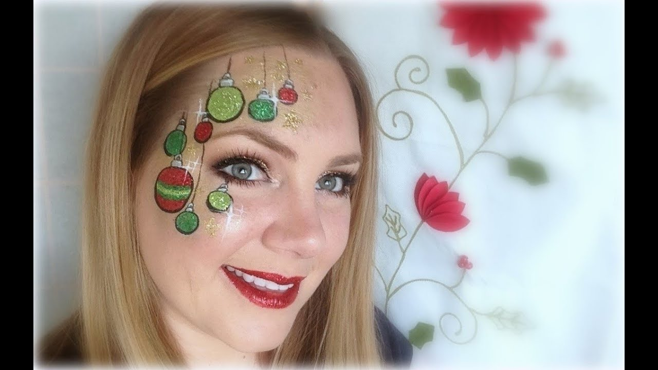 Glittery Ornaments Face Painting and Makeup - YouTube
