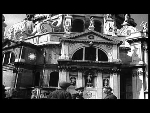 British Eighth Army soldiers in gondolas visit canals and important places in Ven...HD Stock Footage