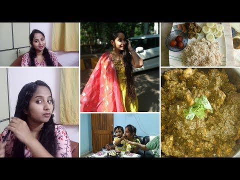 Sister Birthday Celebrations || KLM Shopping || Hariyali Chicken Curry || Smoothening Hair Mask