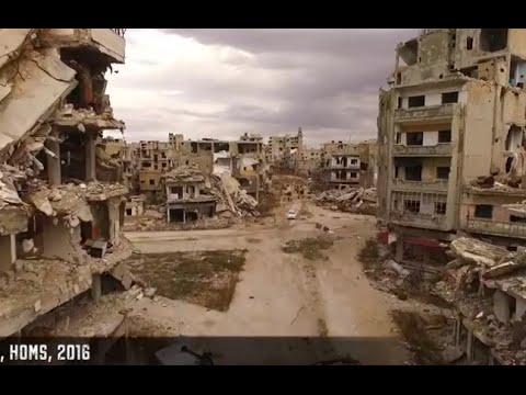 La destrucción de Homs en Siria filmada por un drone ruso