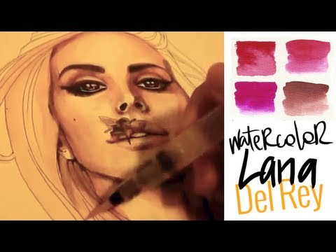 Lana Del Rey - very Christmas tutorial watercolor/acquerello (sub ENG)