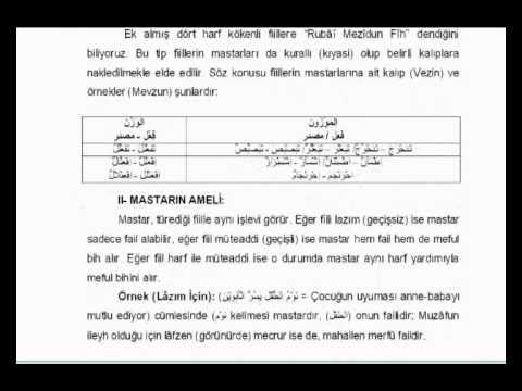 İstanbul İlitam Arapça -10.Hafta- Mastar -2.Bölüm