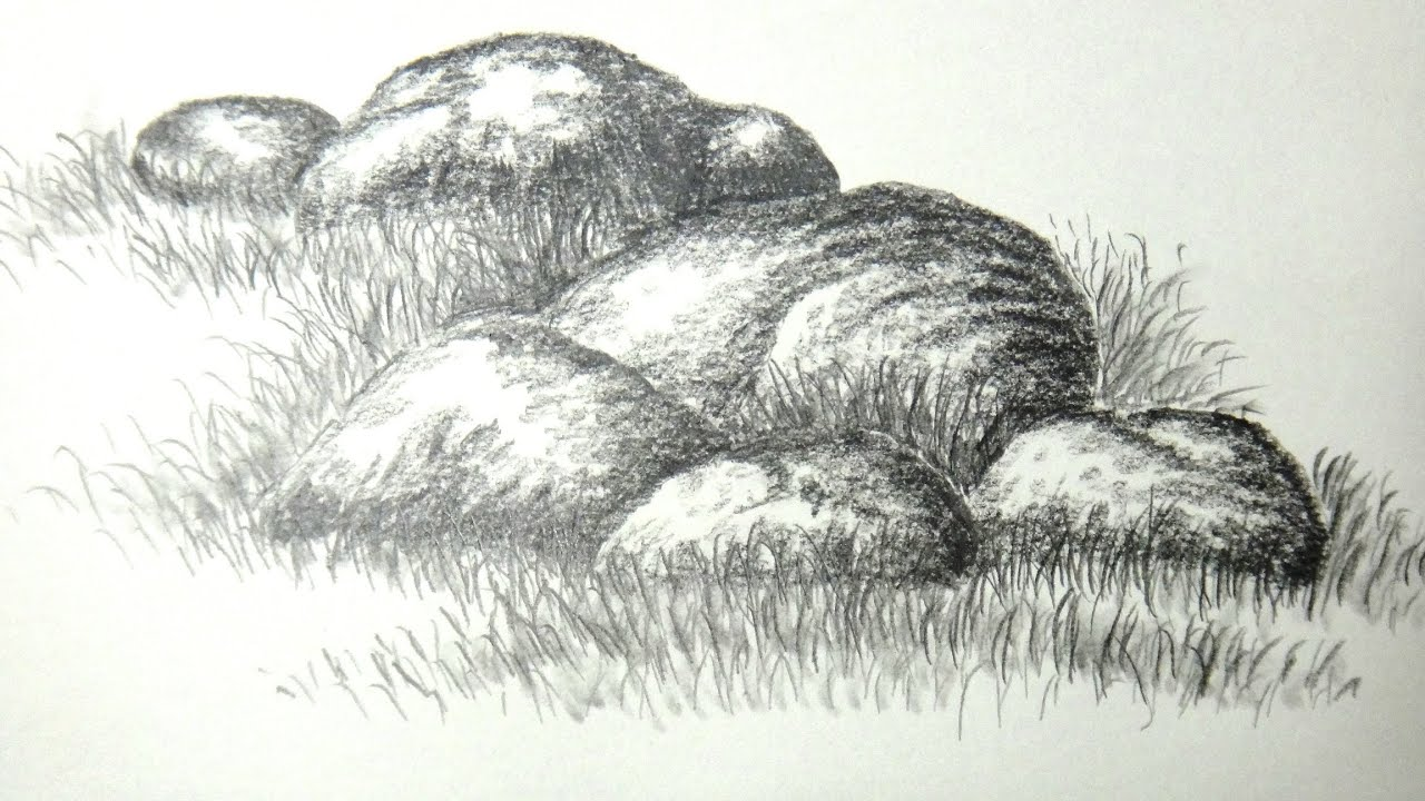 How to draw rocks or stones with pencil - YouTube Drawing Of A Stone