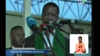 President Edgar Lungu speaks at the Day of prayer&